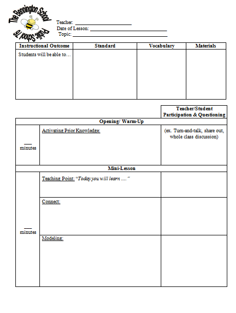 Danielson Lesson Plan Template Playbestonlinegames